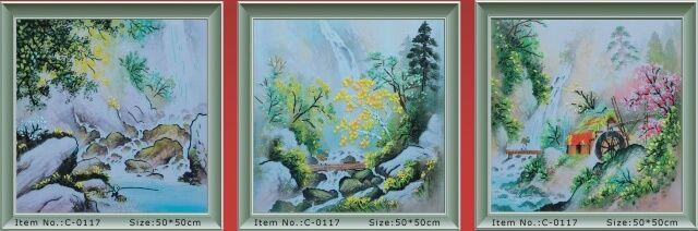 «Летняя песня любви», картина для вышивки лентой, Триптих 50x150 см