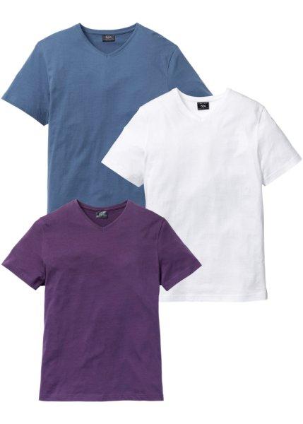 Футболка Regular Fit с V-образной горловиной (3 изделия в упаковке) (виноградный + синий джинсовый + белый)