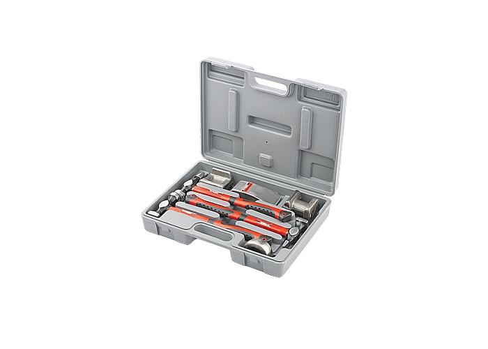 Набор рихтовочный, 3 молотка с фибергласовыми ручками, 4 наковальни, в пластиковом боксе 10845