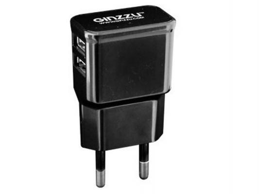 Сетевое зарядное устройство Ginzzu GA-3210UB 2 х USB 2.1A черный