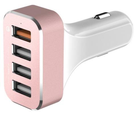 Автомобильное зарядное устройство LAB.C Car Charger 4 x USB 2.4А розовый LABC-584-RG